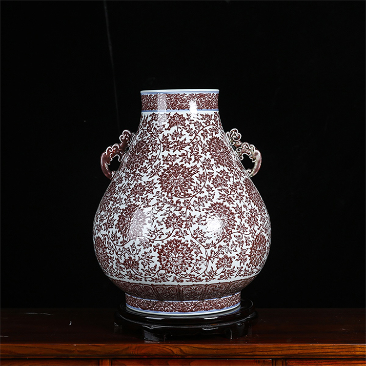 28000元 景德镇陶瓷 纯手工柴窑釉里红仿古陶瓷缠枝双耳尊