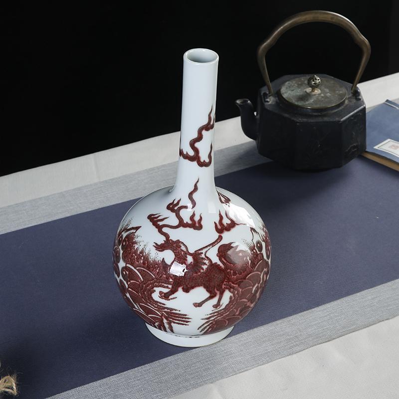 5800元 景德镇陶瓷 纯手工柴窑釉里红仿古陶瓷麒麟胆瓶