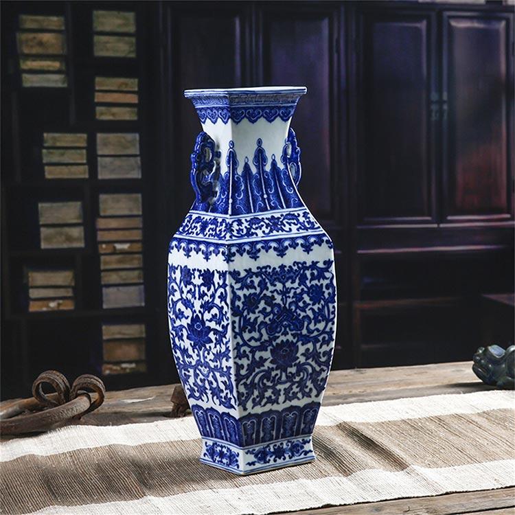 8800元 景德镇柴窑陶瓷器花瓶仿古摆件客厅元青花瓷仿古中式家居博古架装